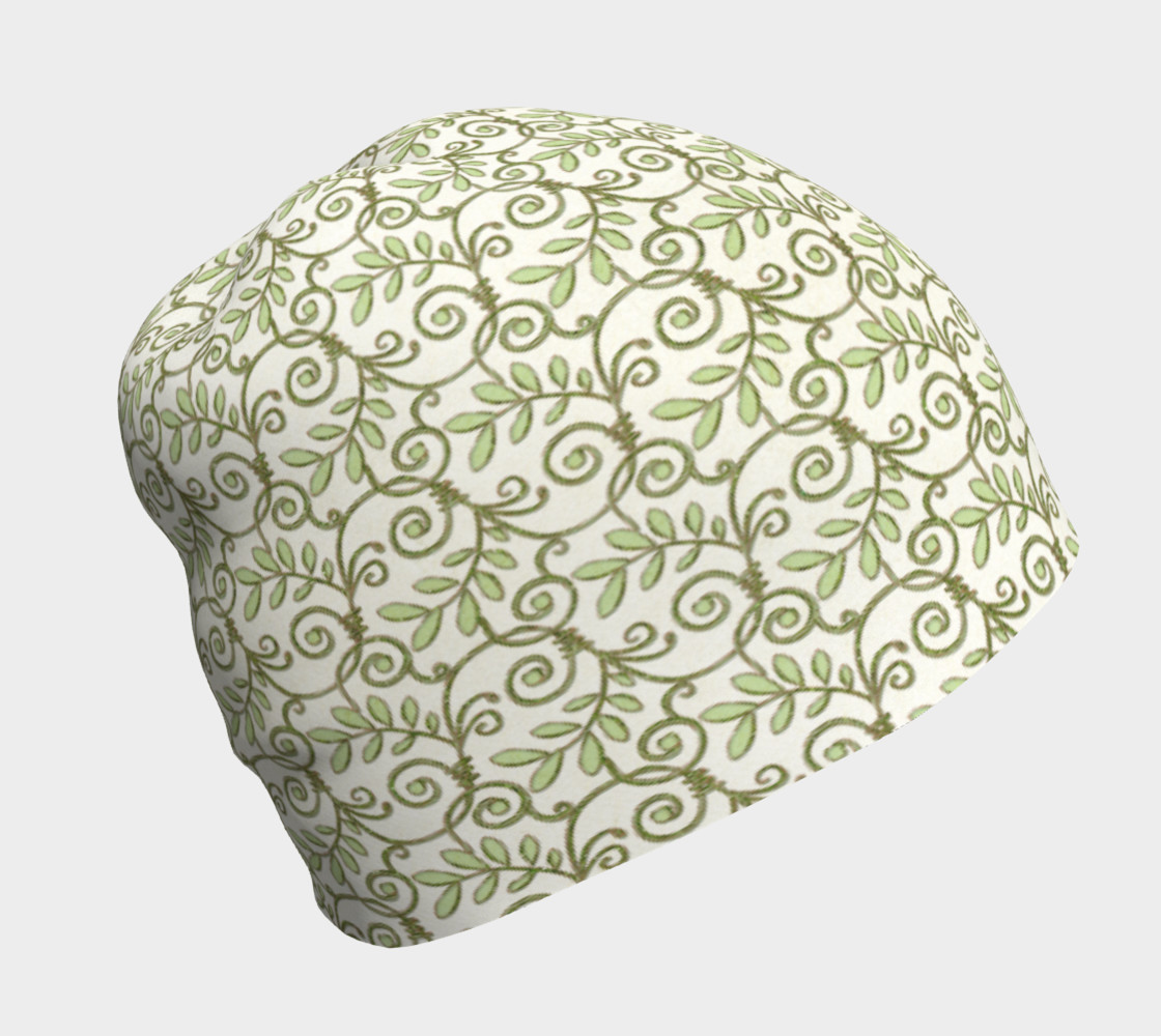 Green Cream Leafy Lace Floral Beanie Hat preview #1