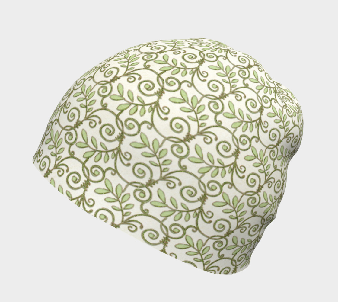 Green Cream Leafy Lace Floral Beanie Hat preview #2