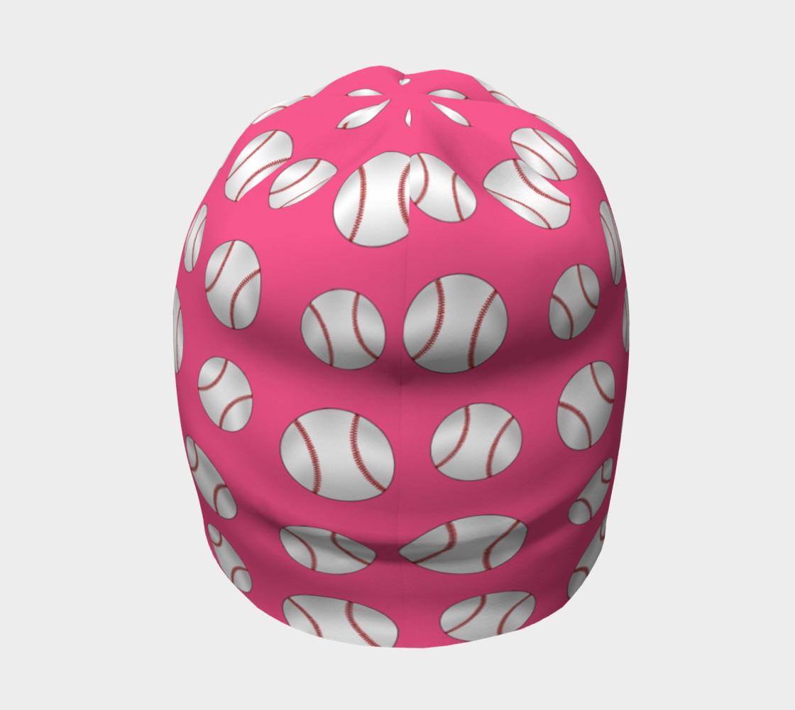 Pink baseball pattern beanie preview #4