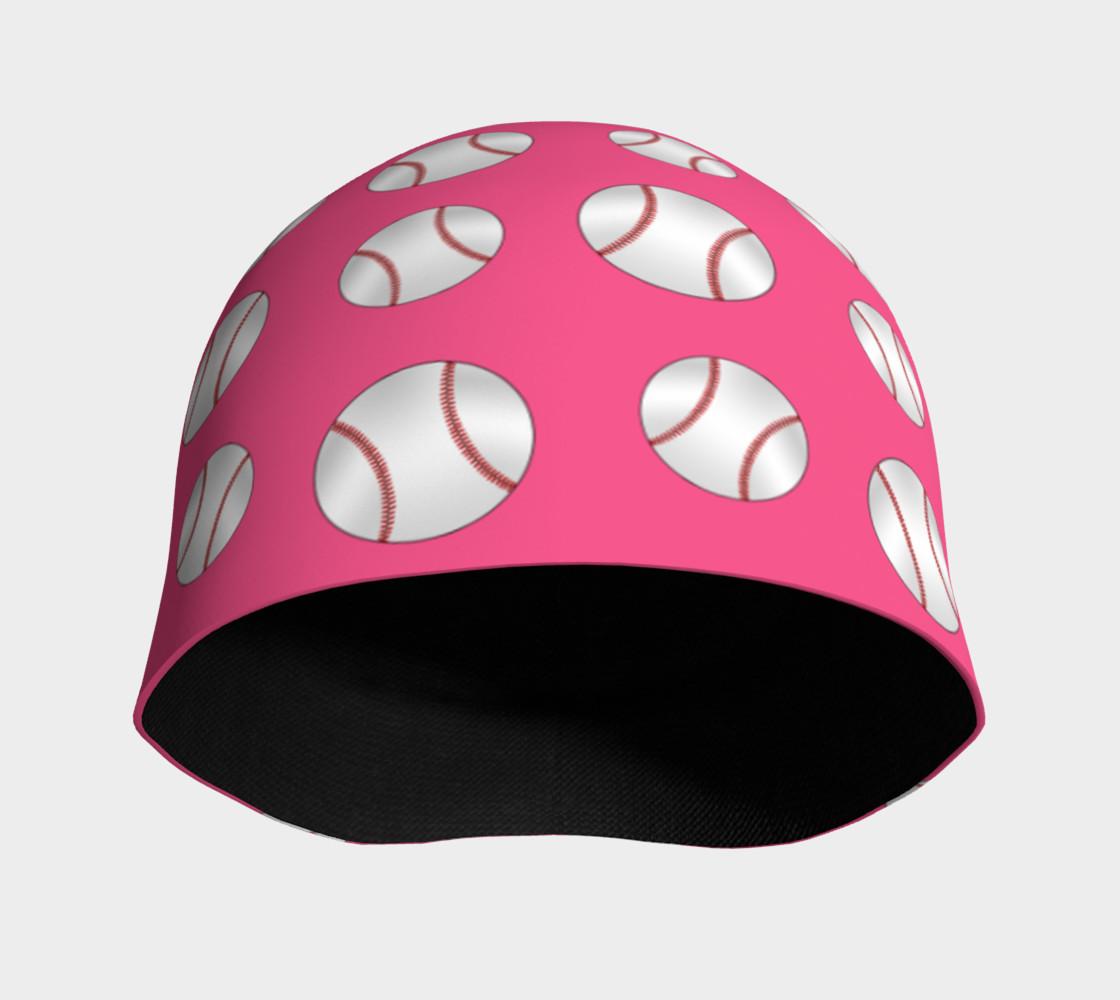Pink baseball pattern beanie preview #3