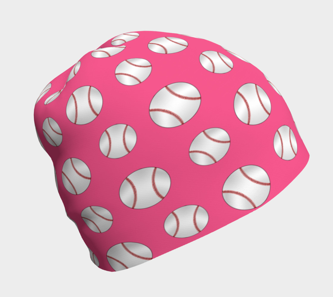 Pink baseball pattern beanie preview #1