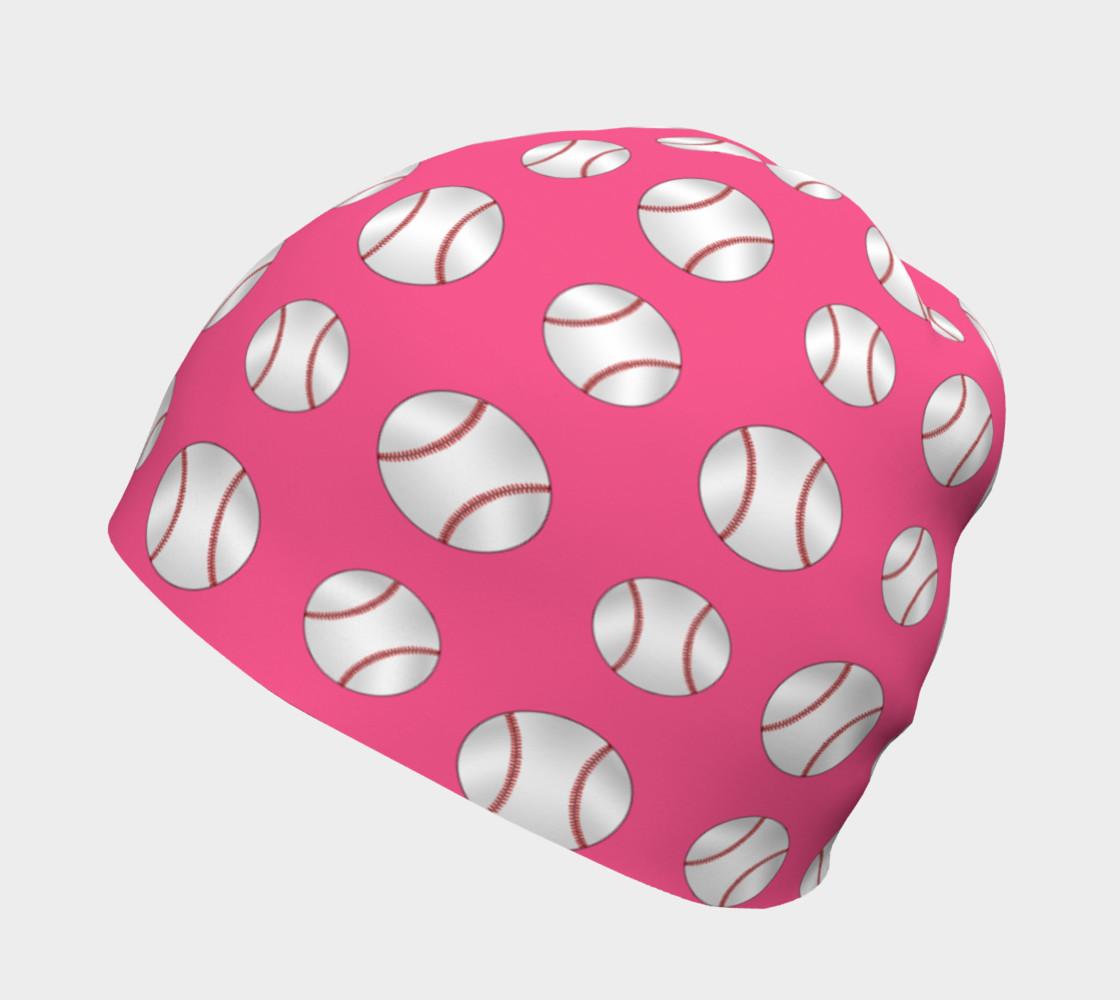 Pink baseball pattern beanie preview #2