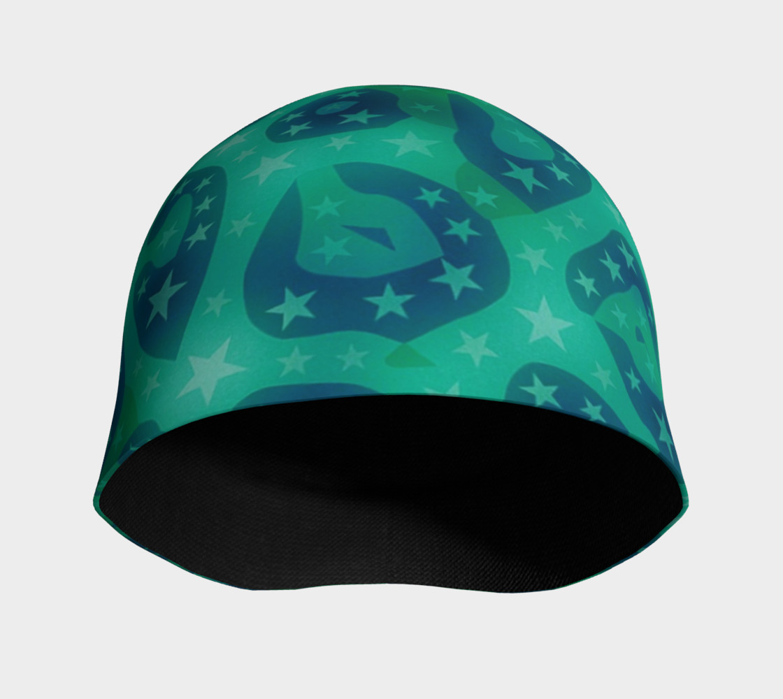 Lime Blue Cheetah Stars Beanie  preview #3