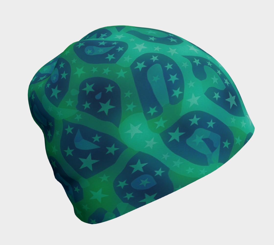 Lime Blue Cheetah Stars Beanie  preview #1