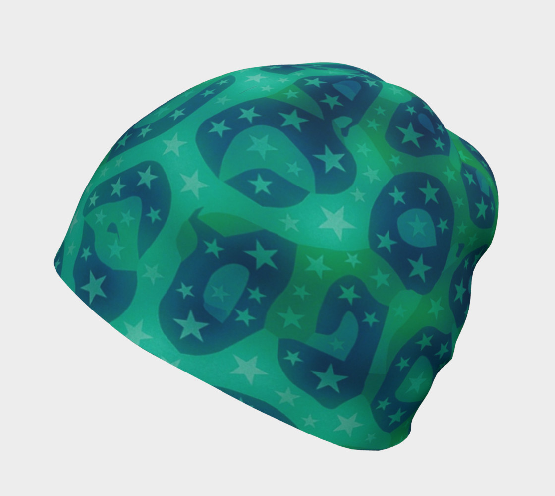 Lime Blue Cheetah Stars Beanie  preview #2