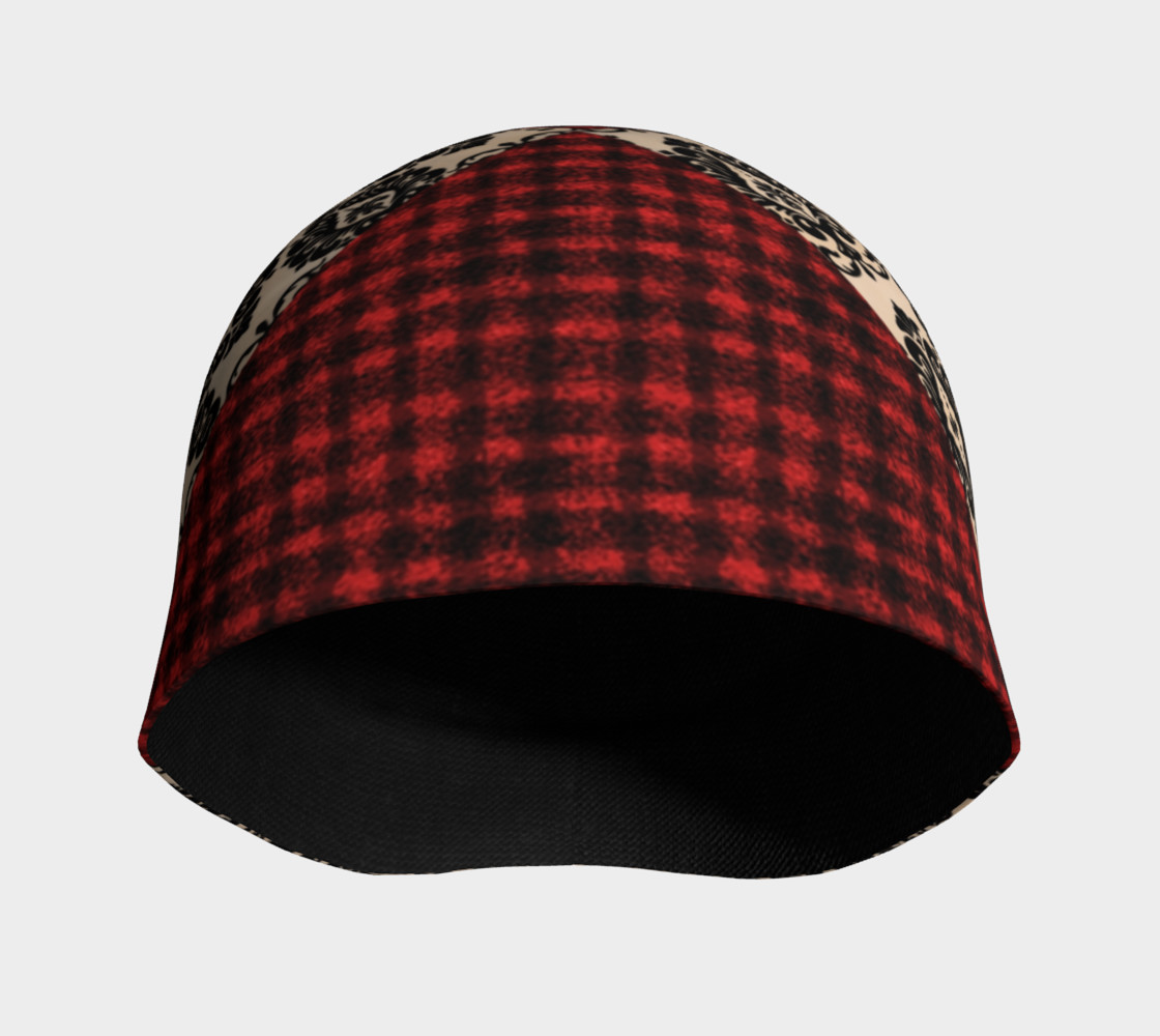 Red Plaid and Lace Goth Beanie by Tabz Jones  preview #3