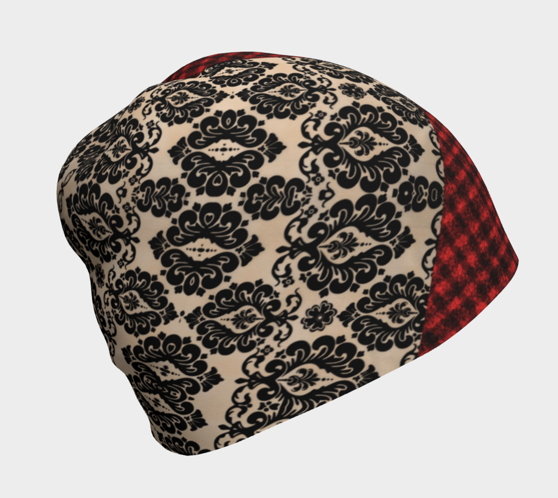 Red Plaid and Lace Goth Beanie by Tabz Jones  preview #1