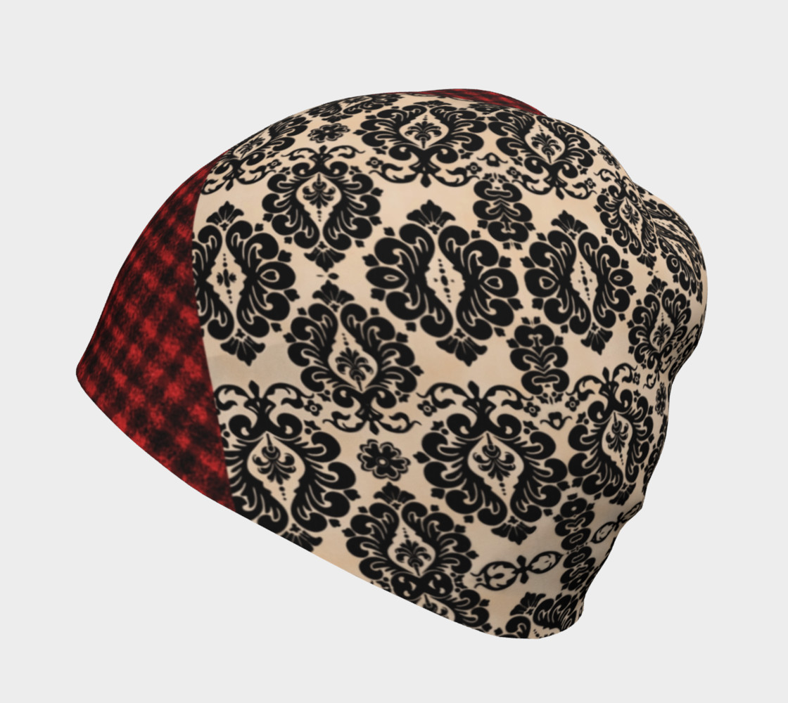 Red Plaid and Lace Goth Beanie by Tabz Jones  preview #2