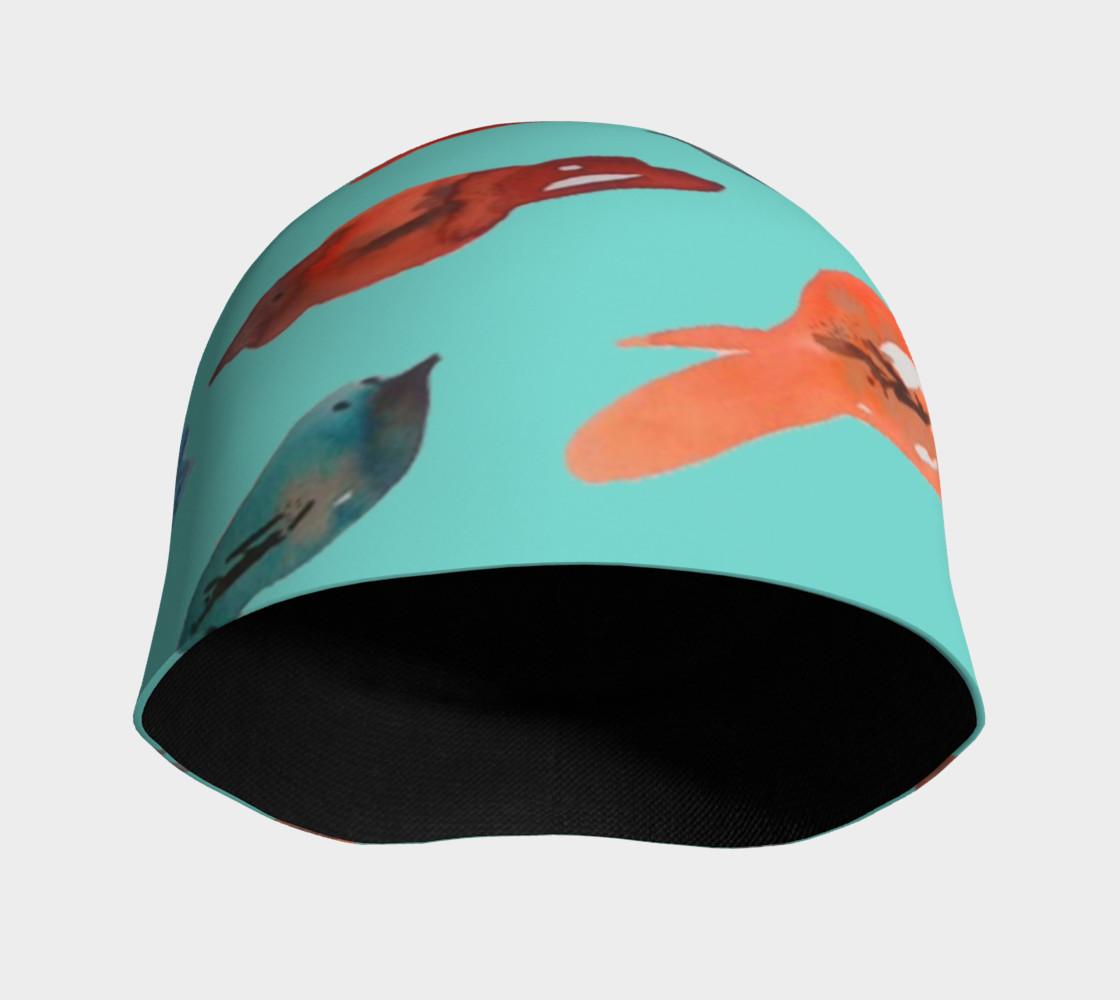 Aperçu de Fish-Birds on Turquoise beanie hat #3