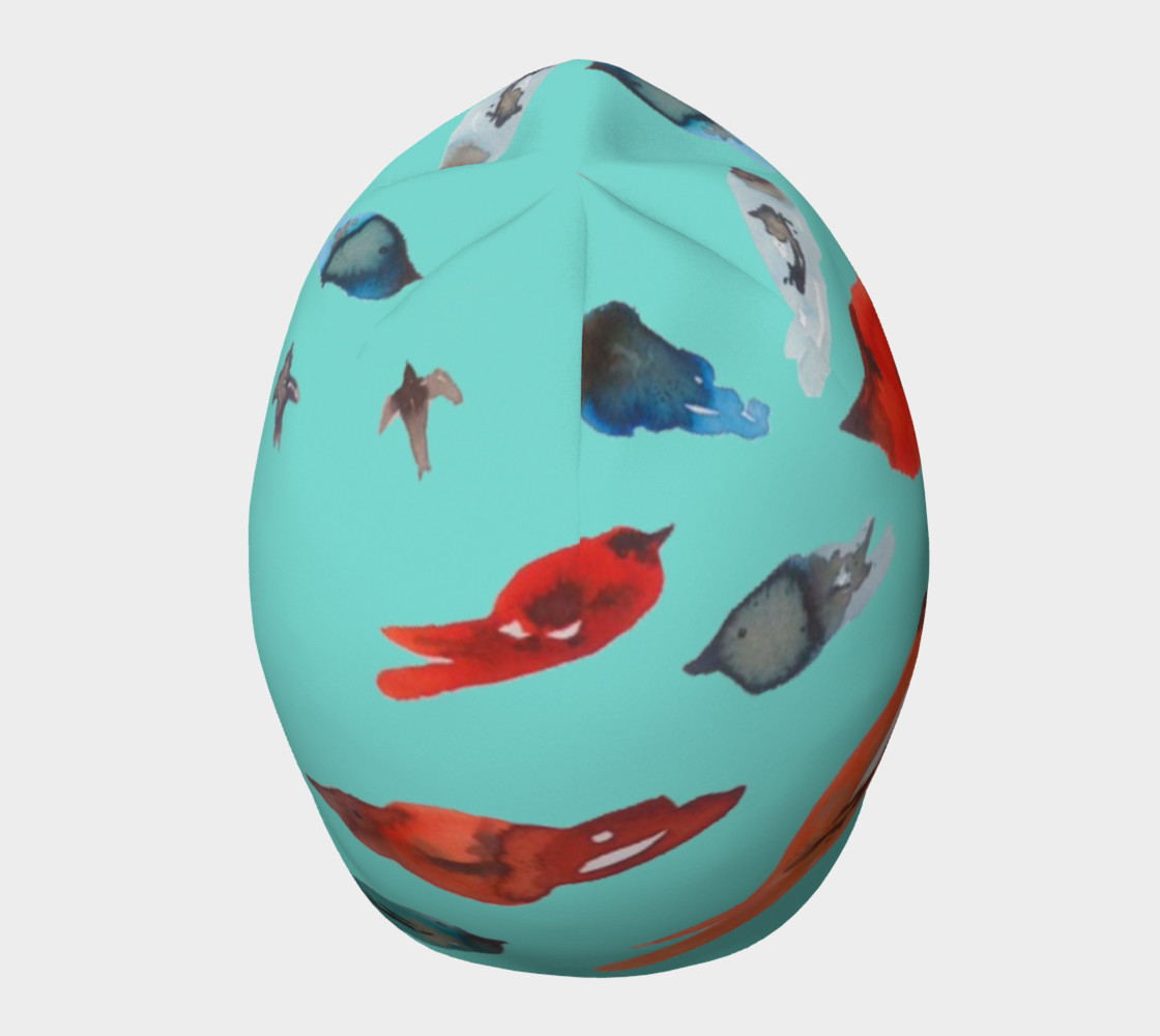 Aperçu de Fish-Birds on Turquoise beanie hat #5