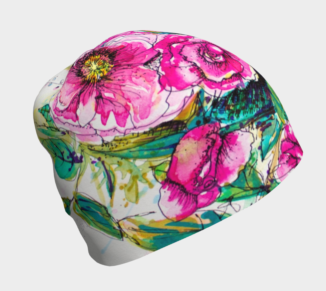 Aperçu de Wild Roses for Me beanie hat #1