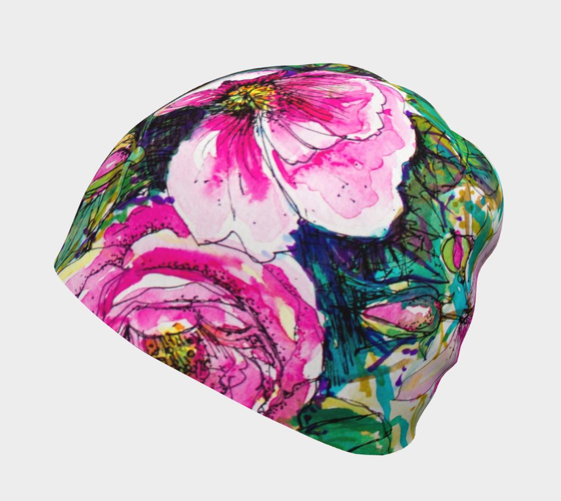 Aperçu de Wild Roses for Me beanie hat #2