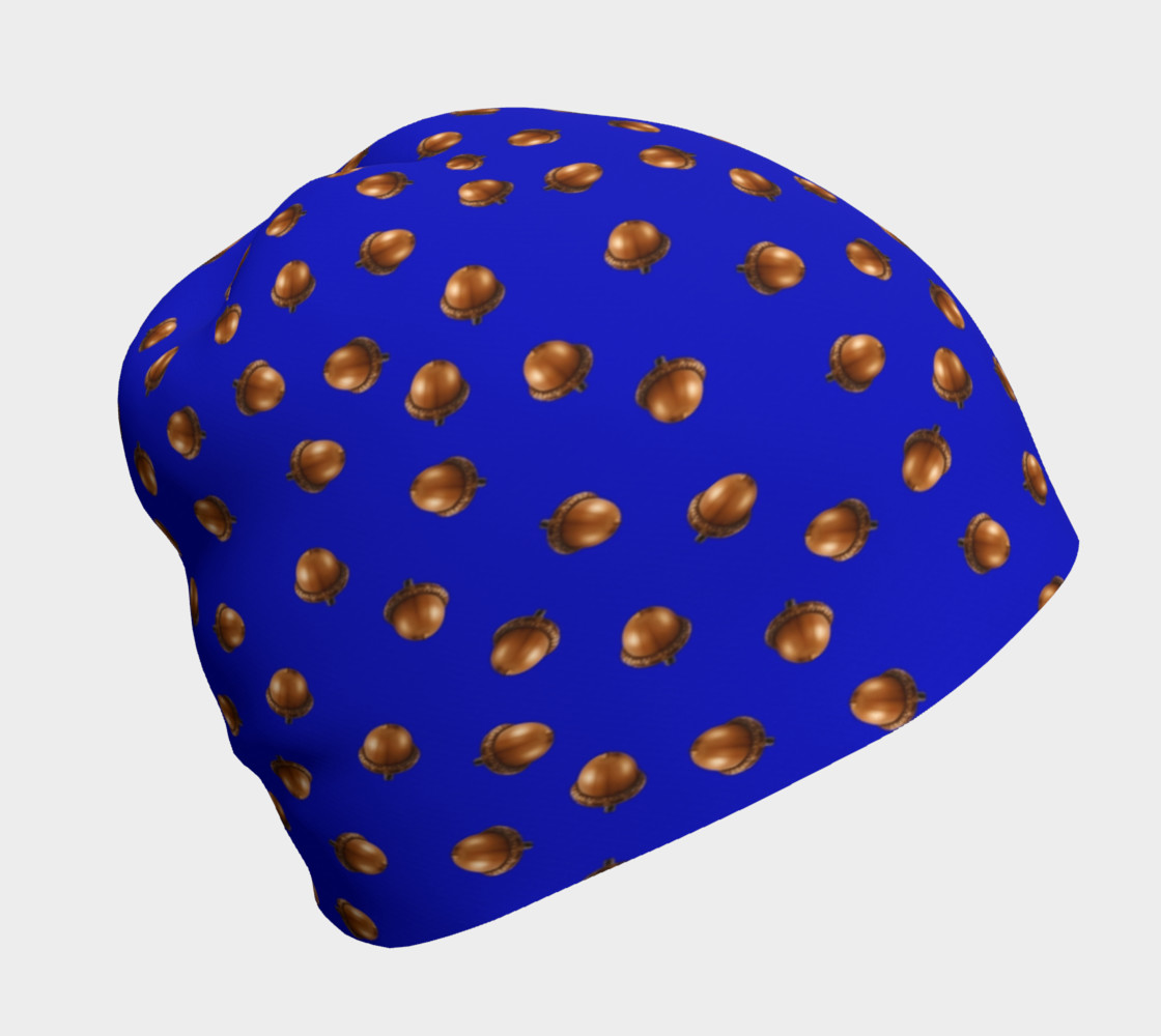 Acorns Pattern-Blue Beanie 3D preview