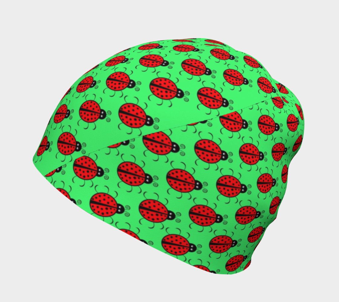Ladybugs Pattern-Green Beanie Miniature #3