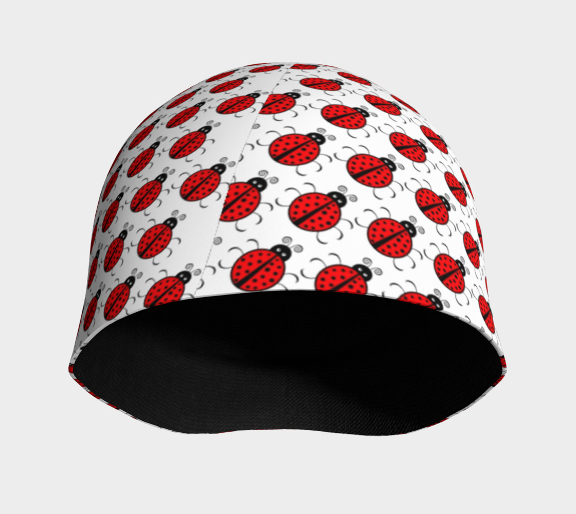 Ladybugs Pattern-White Beanie preview #3