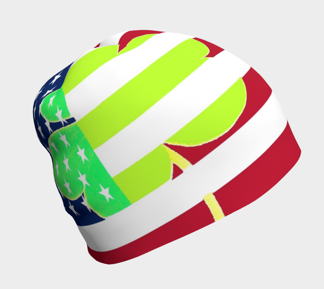 Funny St. Patrick Beanie Irish Shamrock American Flag Colors preview #1