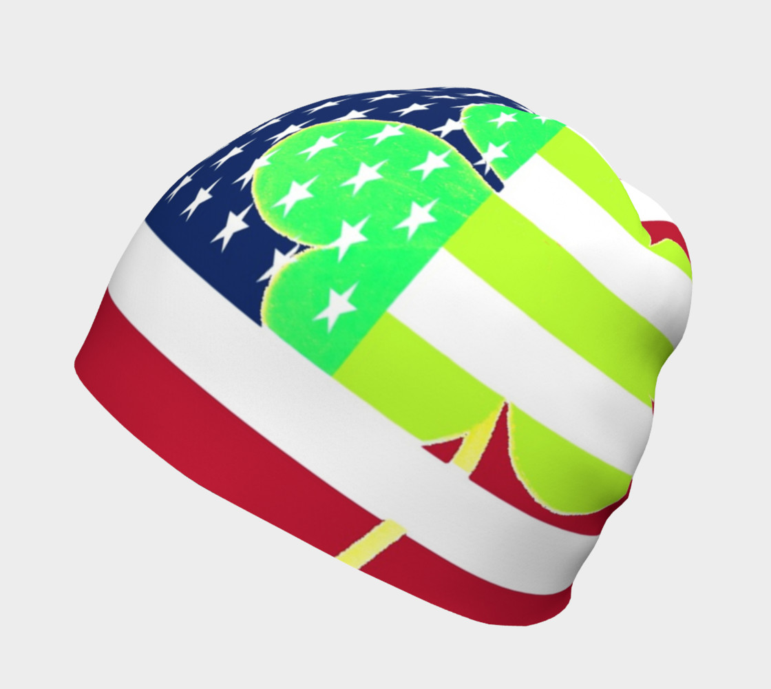 Funny St. Patrick Beanie Irish Shamrock American Flag Colors preview #2