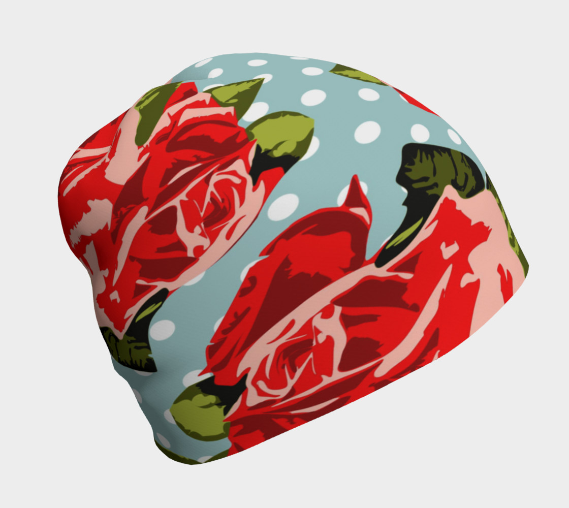 Red Roses On Polka Dots Beanie preview #1