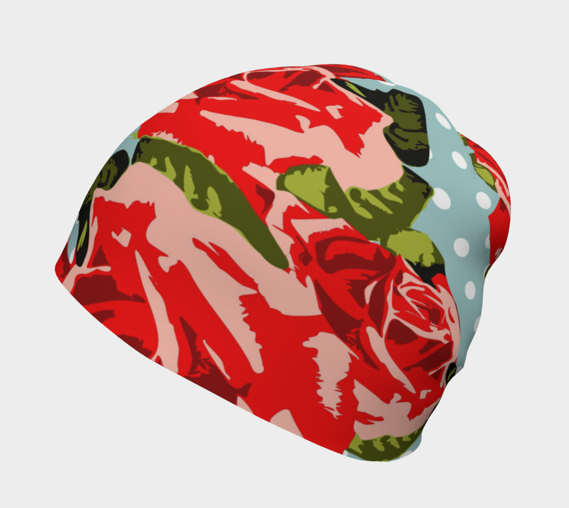 Red Roses On Polka Dots Beanie preview #2