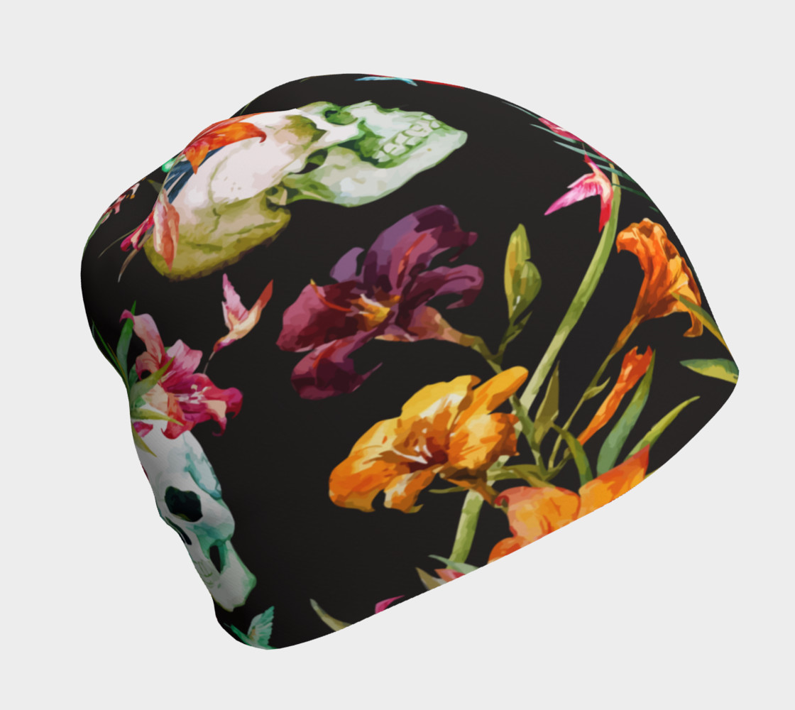 Aperçu de Skulls and Flowers, Oh My, Beanie #1