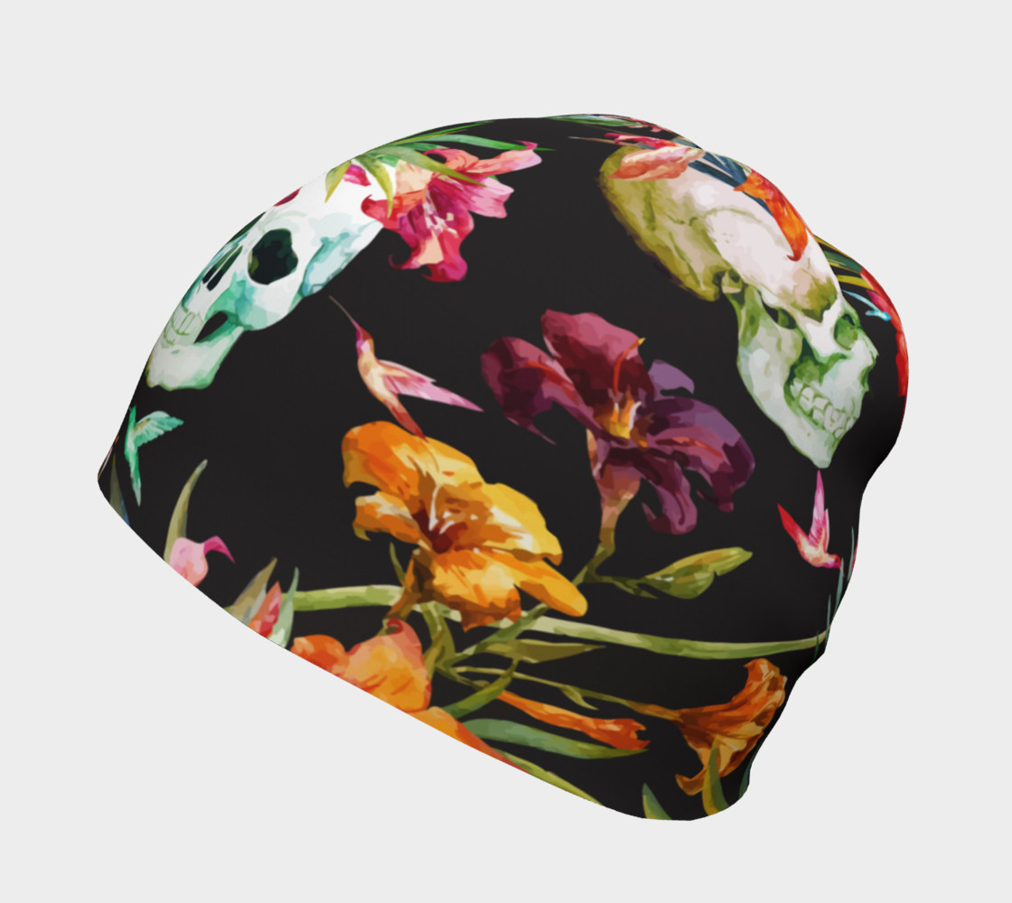 Aperçu de Skulls and Flowers, Oh My, Beanie #2