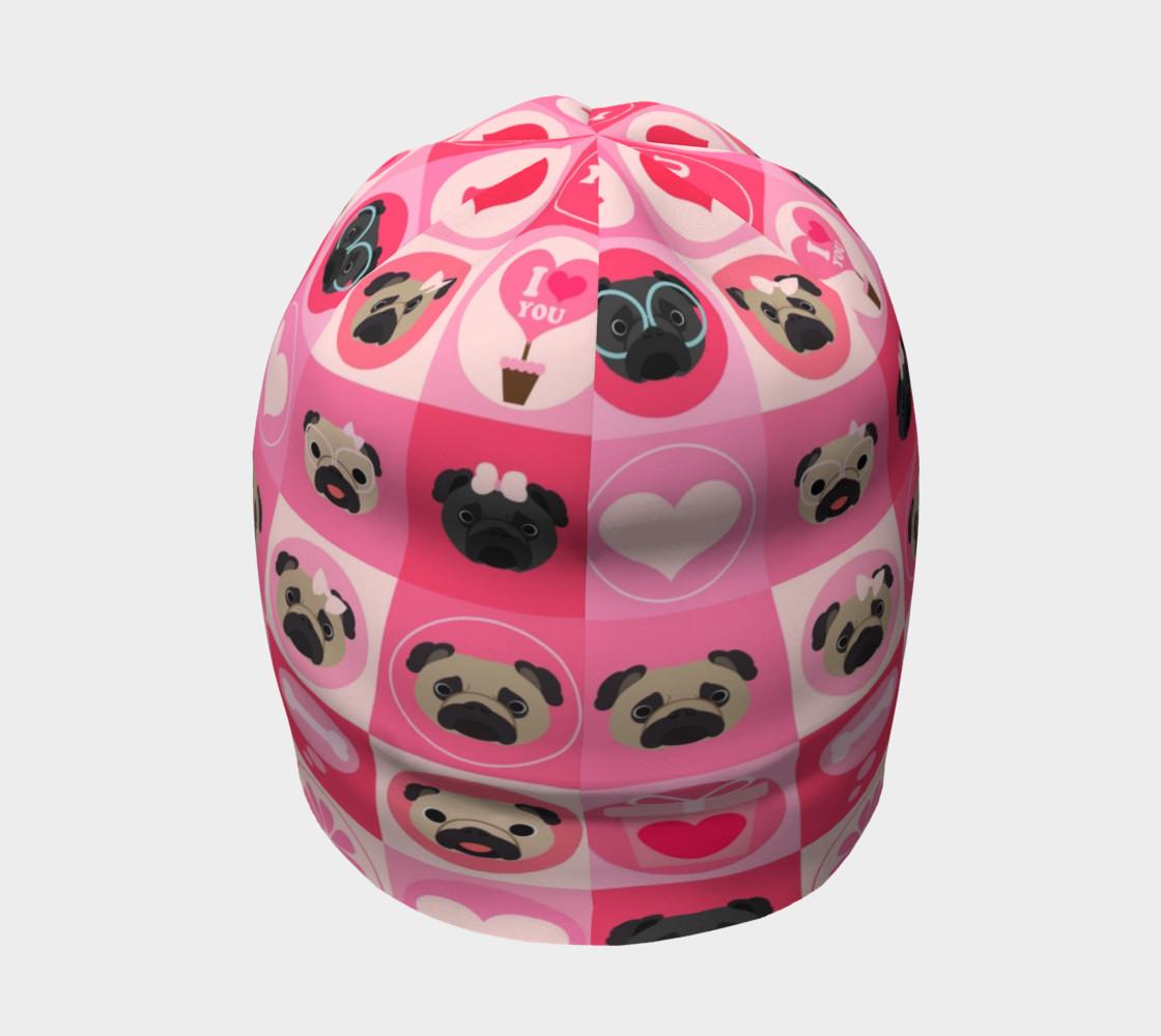 Aperçu de Black and Fawn Pug Valentine - Pink, Flowers, Hearts #4