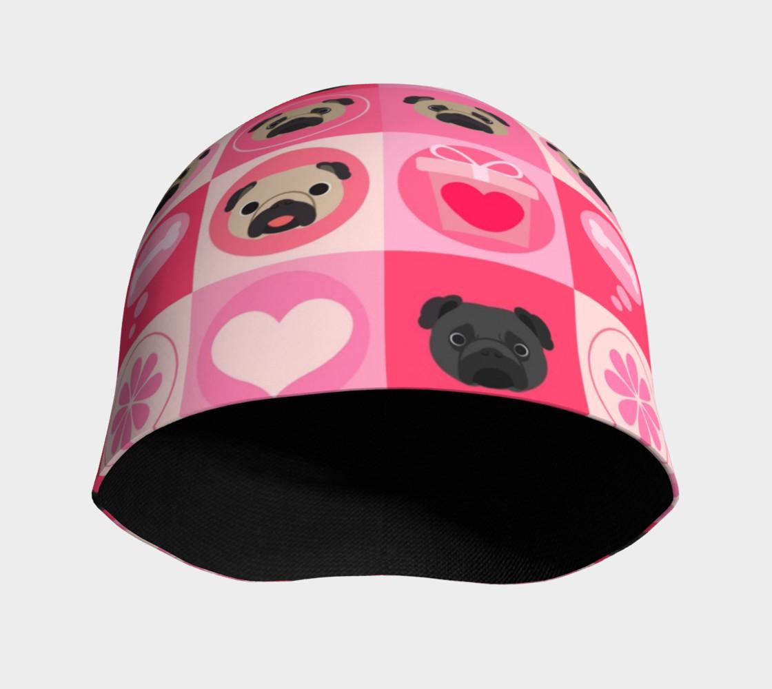 Aperçu de Black and Fawn Pug Valentine - Pink, Flowers, Hearts #3