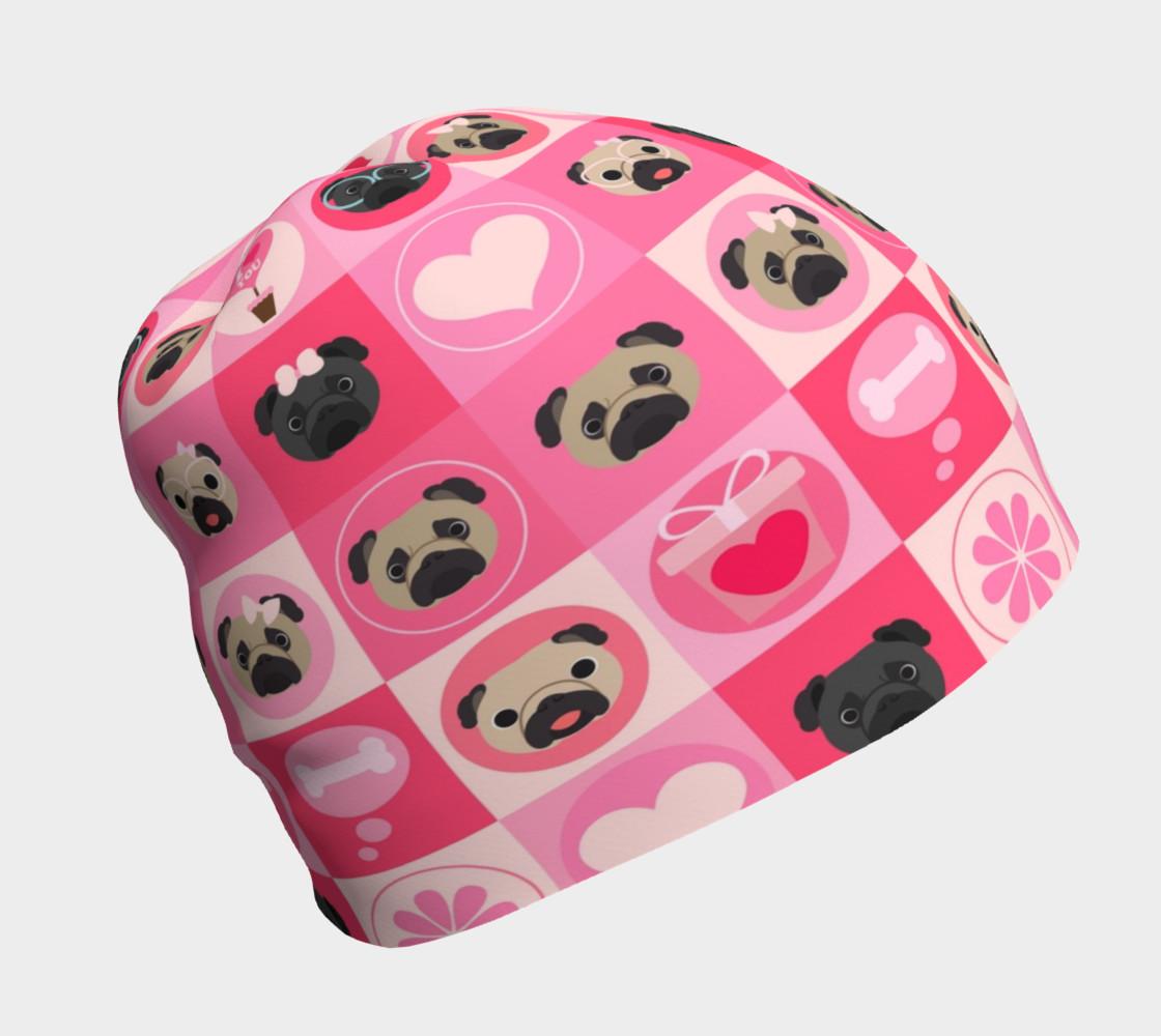 Aperçu de Black and Fawn Pug Valentine - Pink, Flowers, Hearts #1