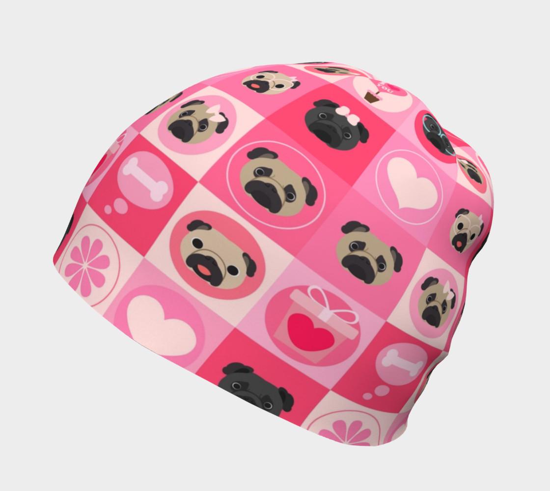 Aperçu de Black and Fawn Pug Valentine - Pink, Flowers, Hearts #2