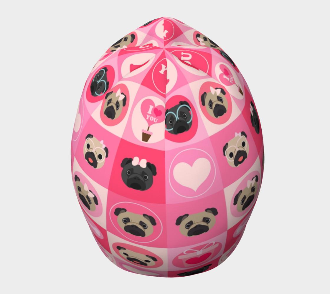 Aperçu de Black and Fawn Pug Valentine - Pink, Flowers, Hearts #5