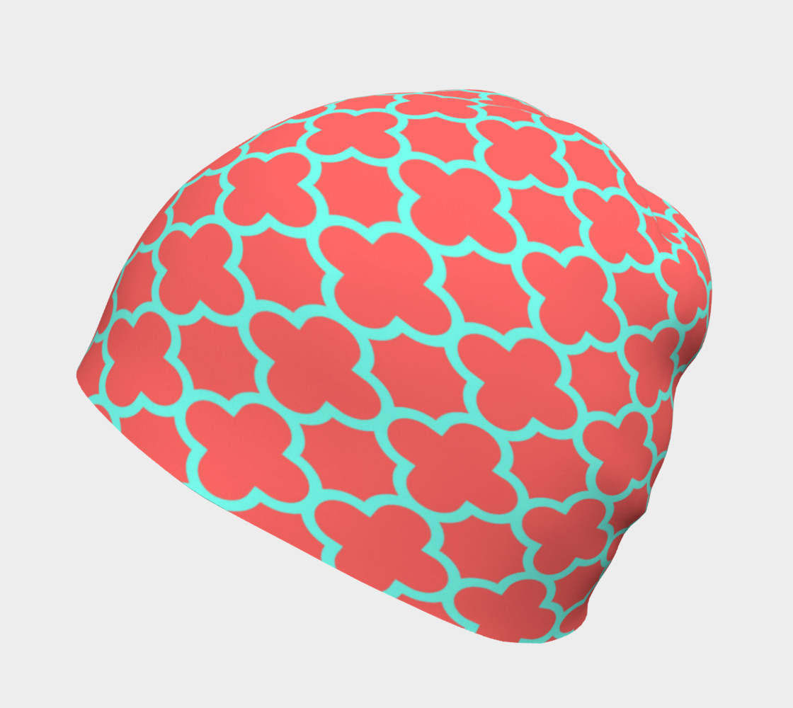 Aperçu de Moroccan Influence in Coral and Teal Beanie  #2