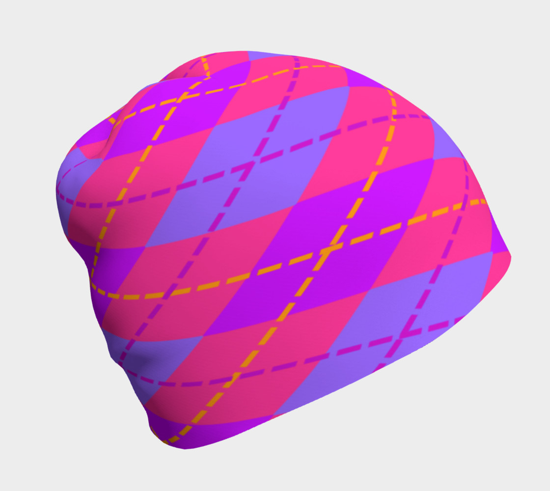 Hot Pink Argyle Beanie preview #1