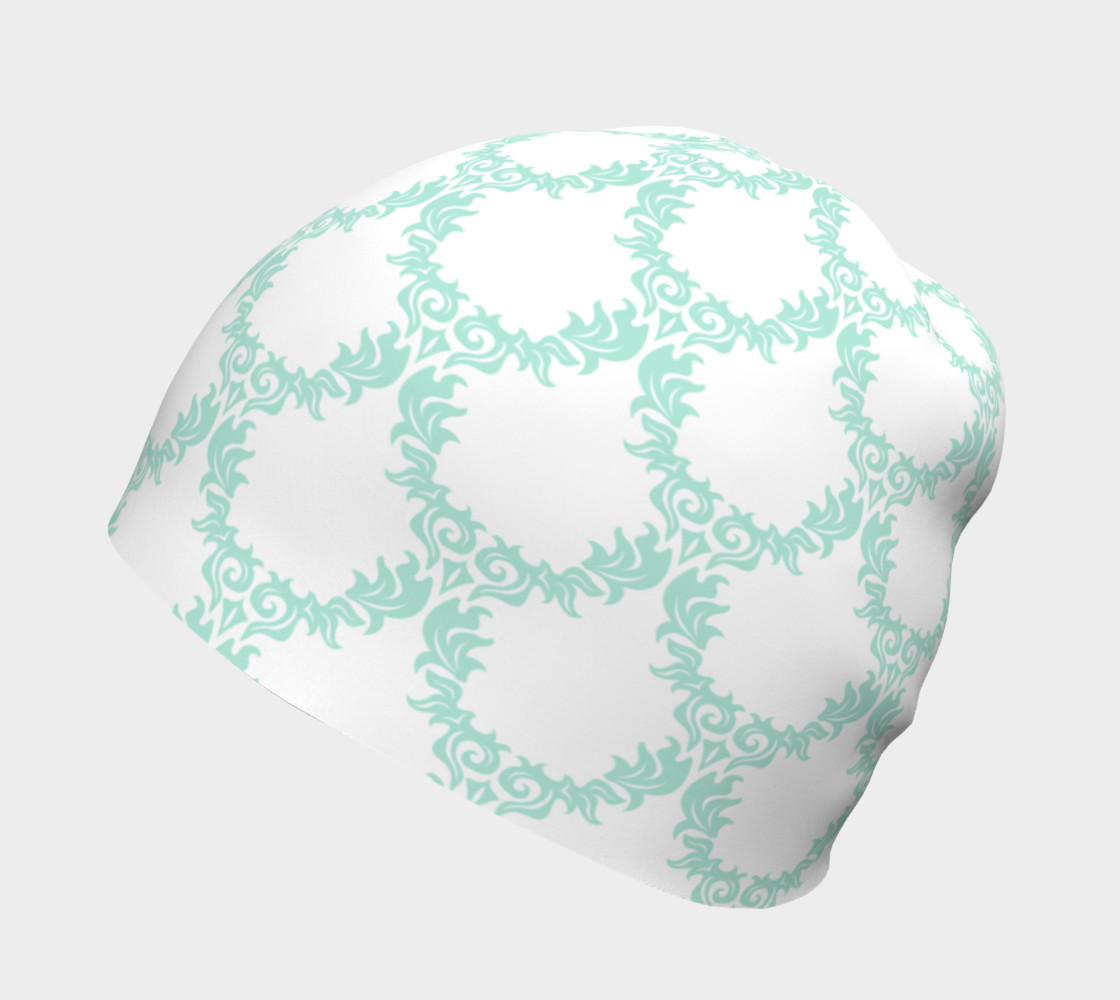 Green and White Trellis Beanie preview #2