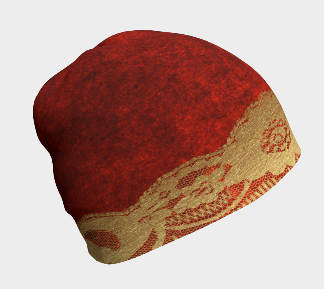 Gold Lace Over Red Velvet Beanie 2 preview #1