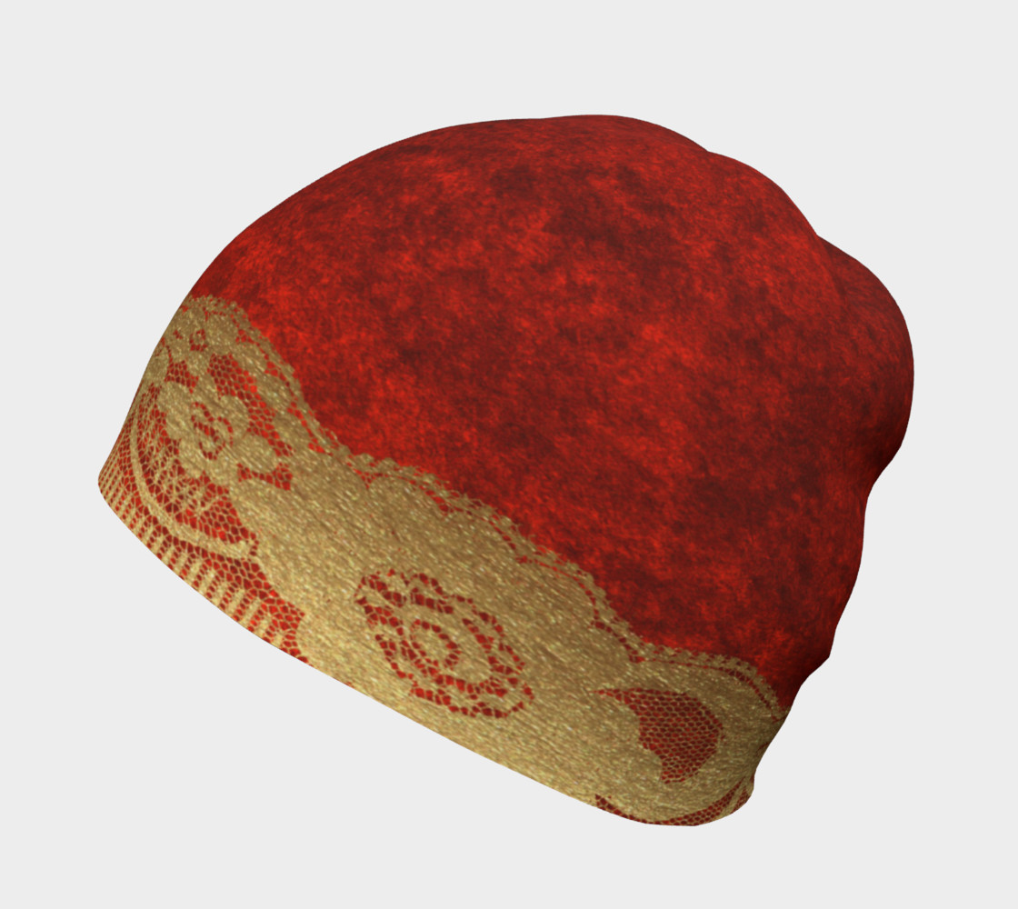 Gold Lace Over Red Velvet Beanie 2 preview #2