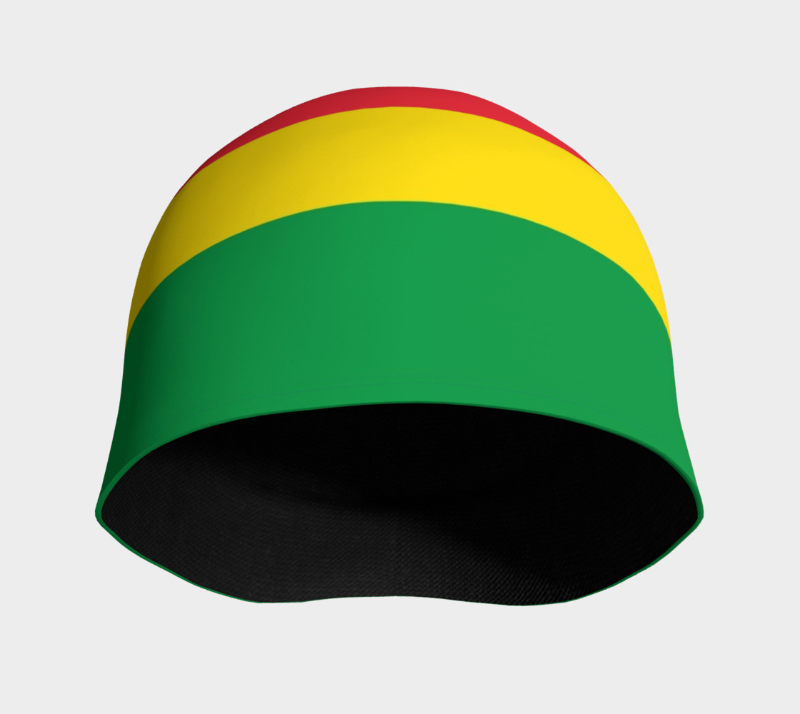 Aperçu de Rasta Colors Green Yellow Red Black Stripes Pattern Beanie #3