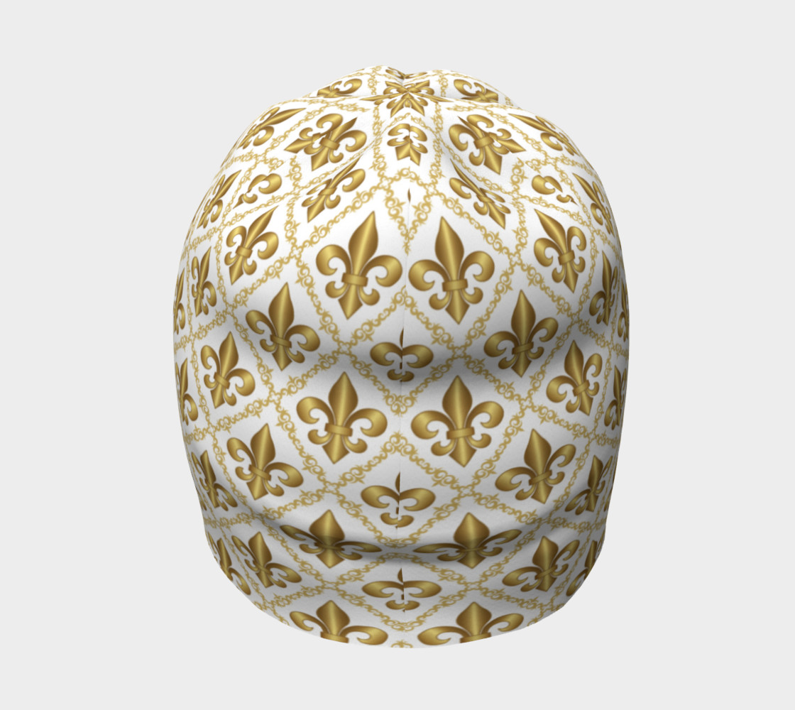 Gold Fleur-de-Lis Symbols Pattern on White thumbnail #5