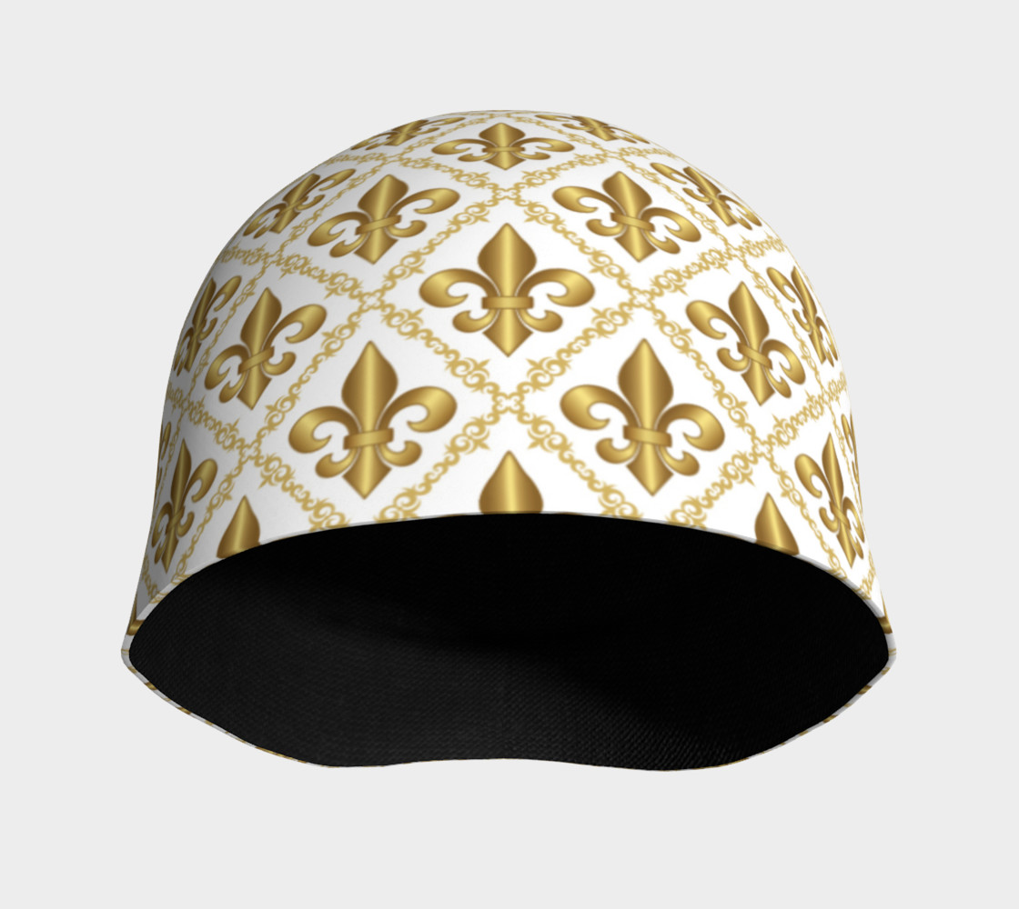 Gold Fleur-de-Lis Symbols Pattern on White preview #3
