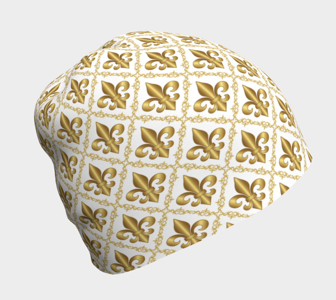 Gold Fleur-de-Lis Symbols Pattern on White 3D preview