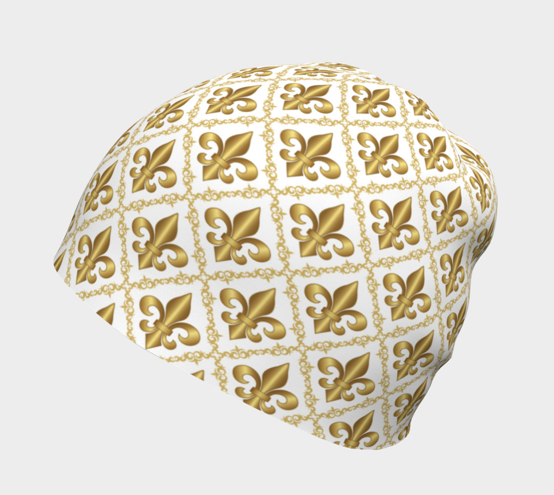 Gold Fleur-de-Lis Symbols Pattern on White thumbnail #3