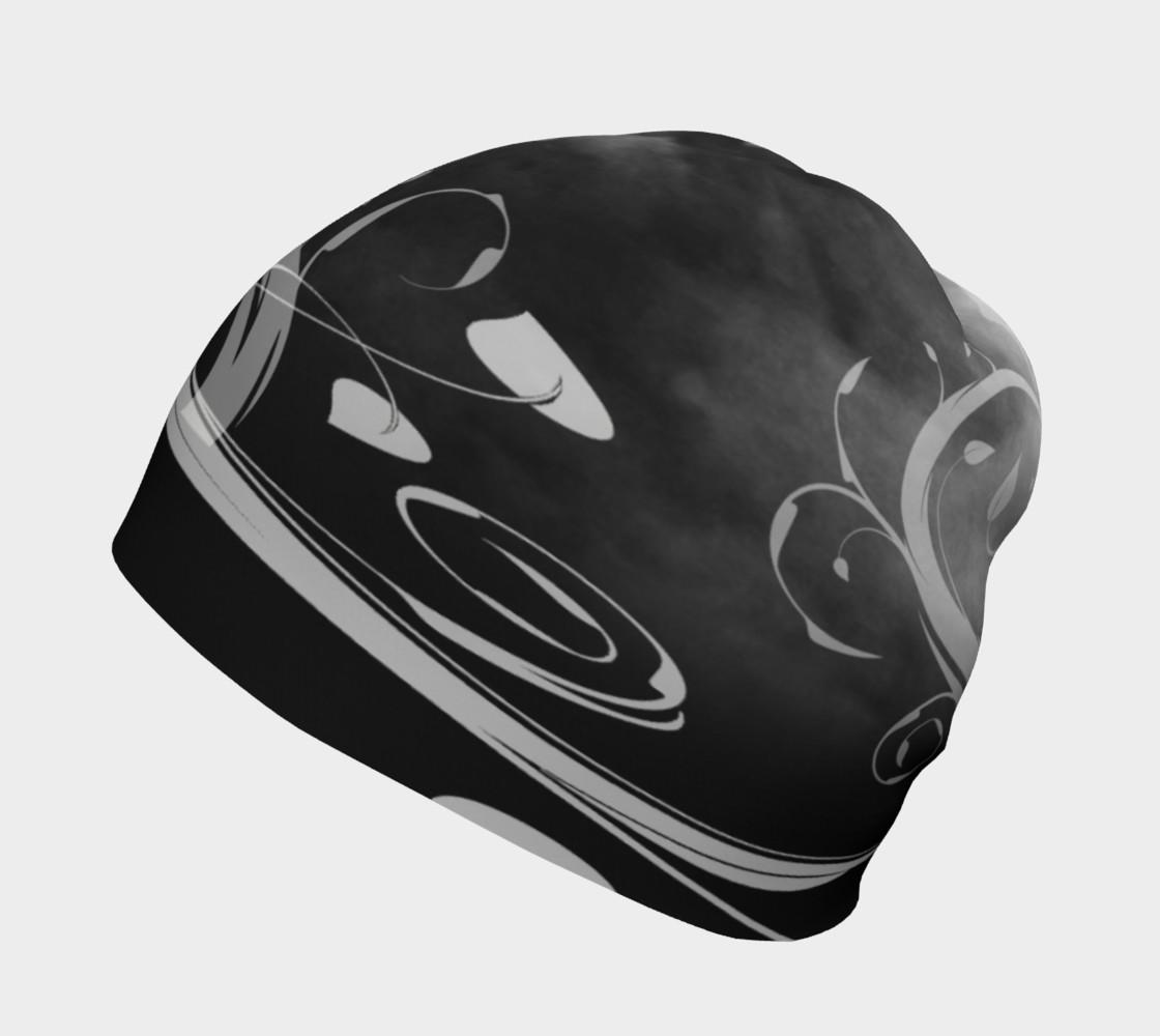 Aperçu de Black and White Moonstruck Beanie Cap #2