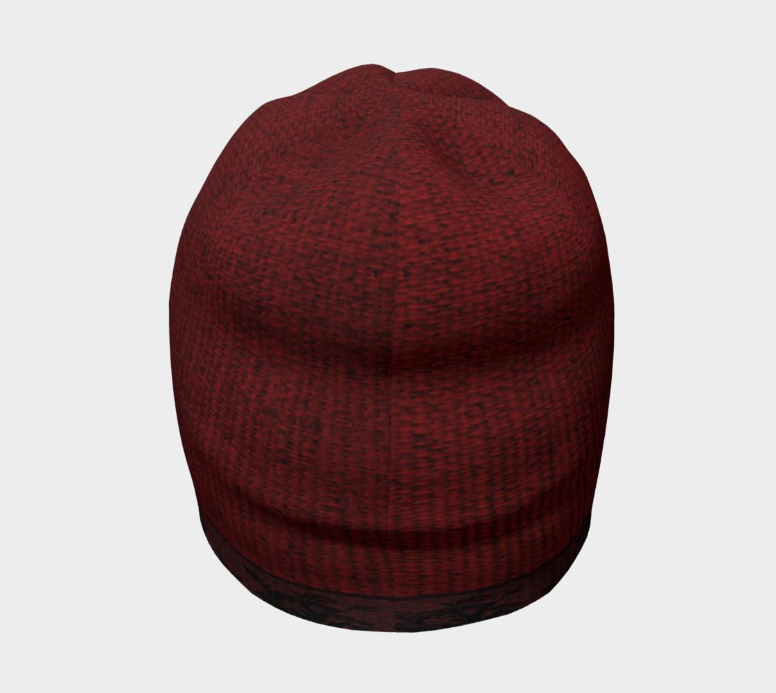 Aperçu de Black Lace and Red Burlap Beanie Hat #4