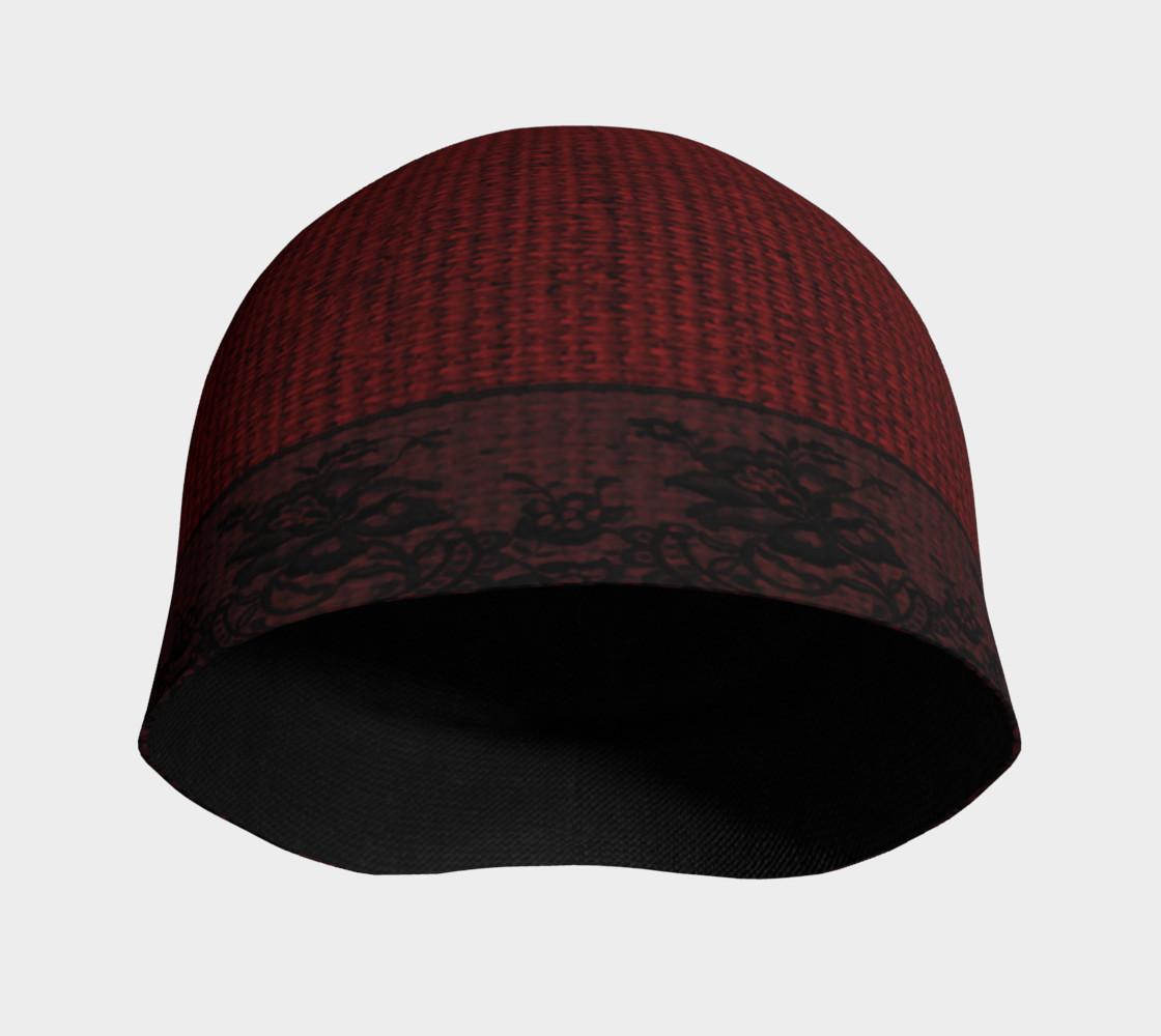 Aperçu de Black Lace and Red Burlap Beanie Hat #3