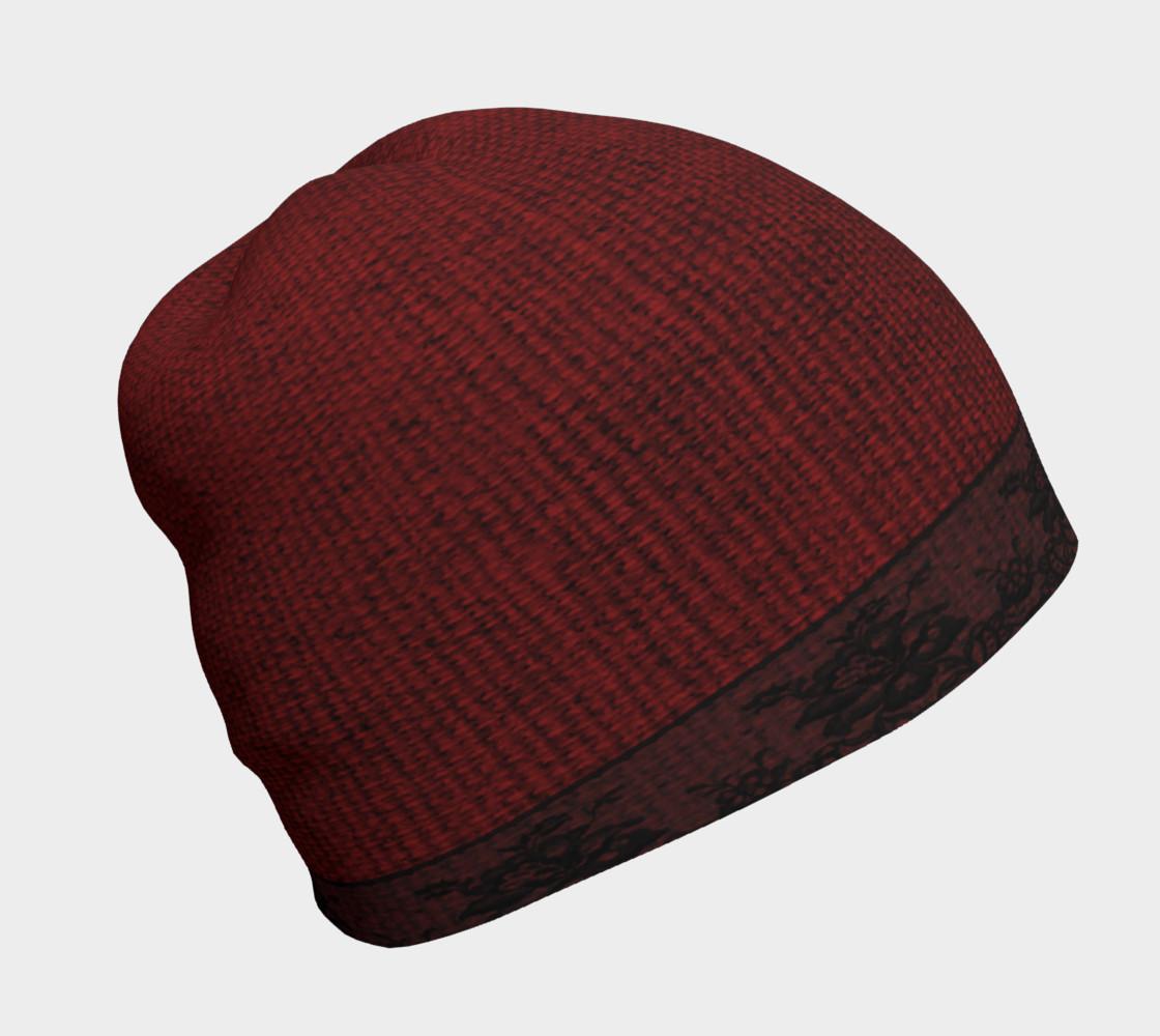 Aperçu de Black Lace and Red Burlap Beanie Hat #1