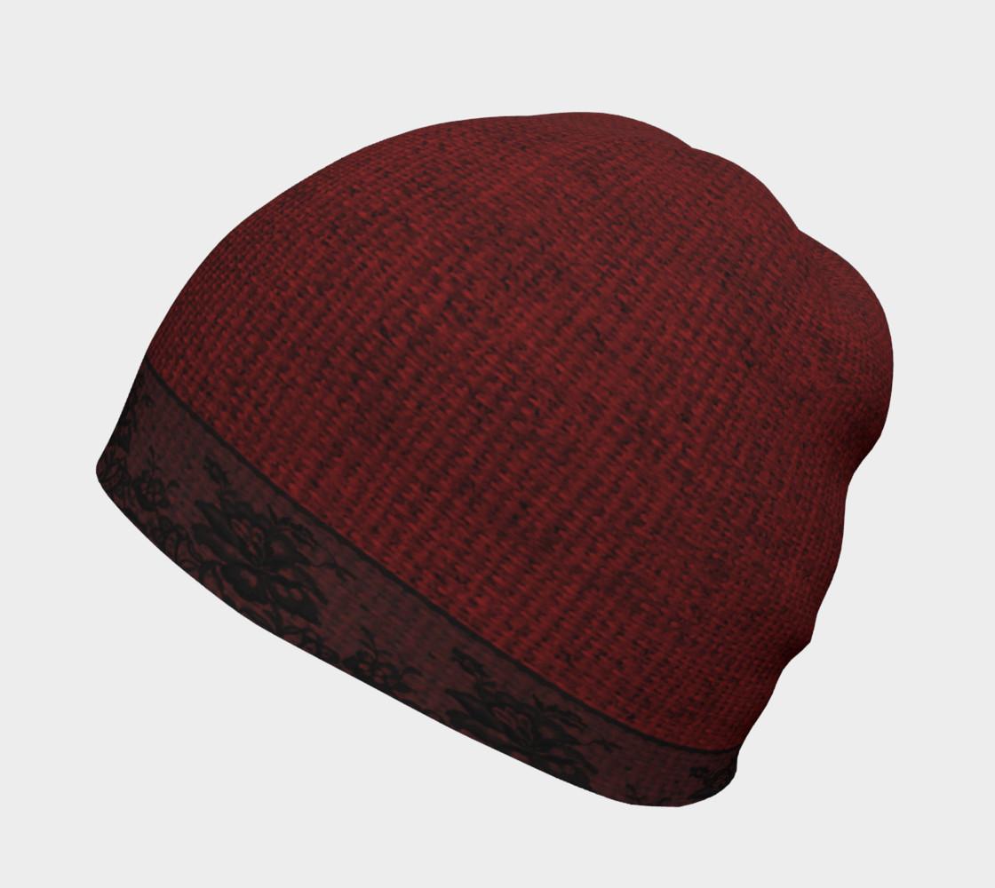 Aperçu de Black Lace and Red Burlap Beanie Hat #2