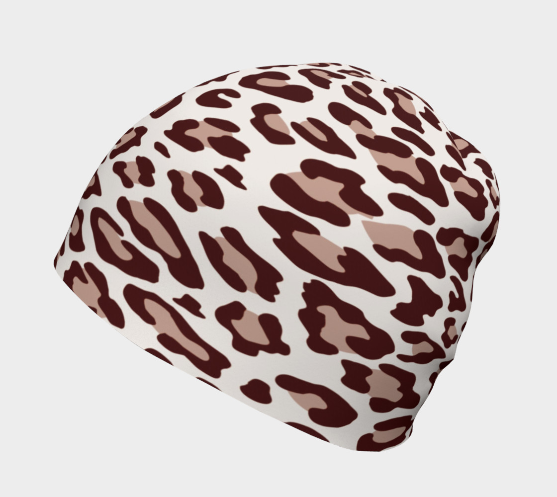 Aperçu de Brown Leopard Beanie Hat #2