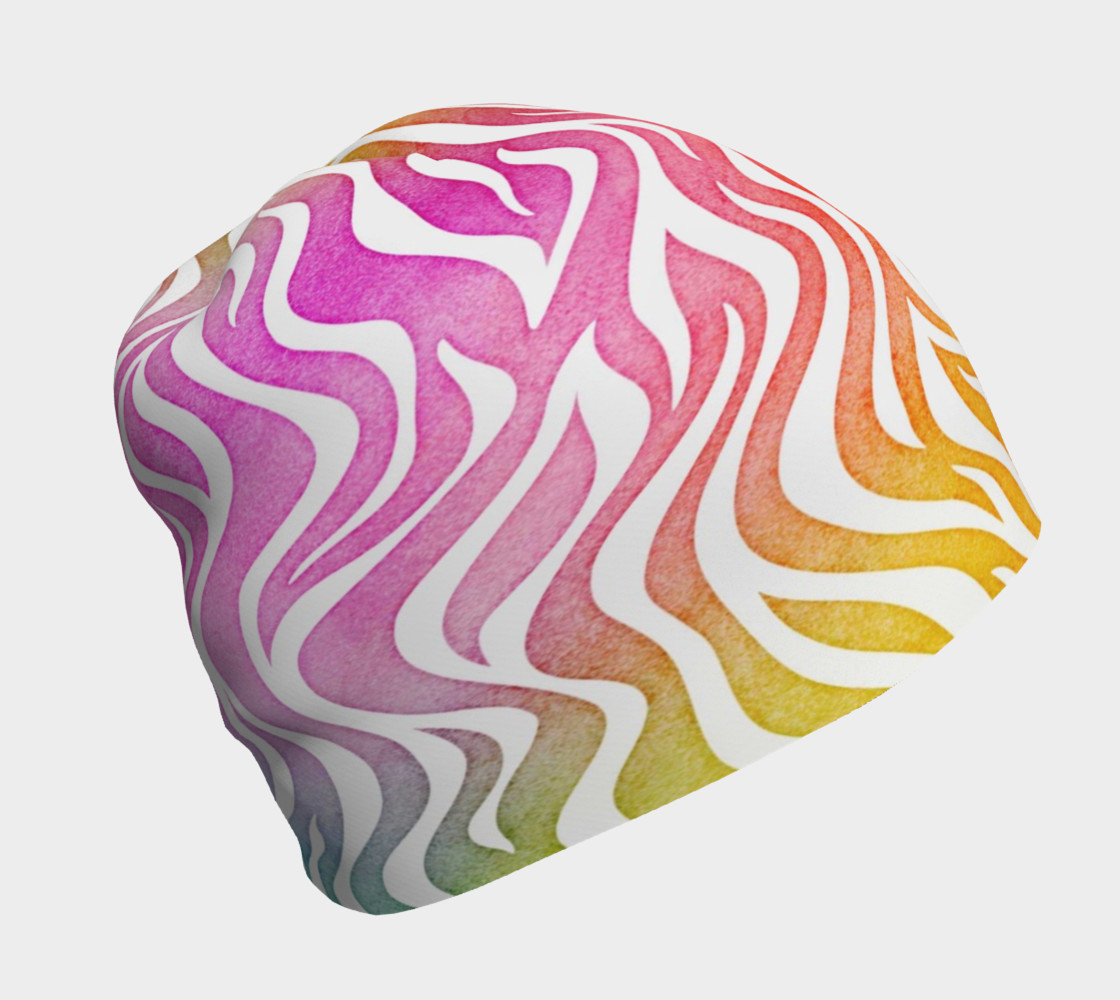 Aperçu de Rainbow Zebra Beanie Hat #1