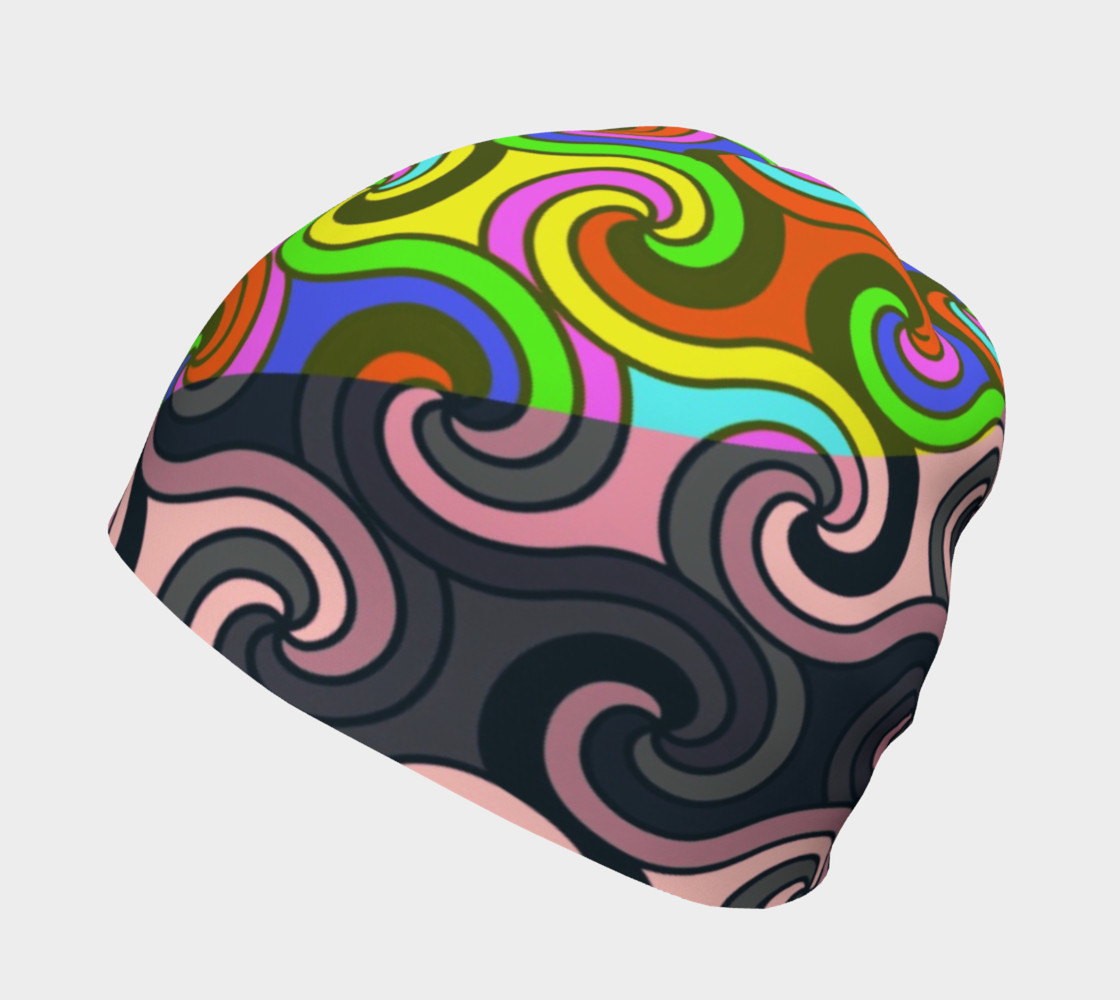 Geometric Swirly Multicolor Adult And Kids Beanie  preview #2
