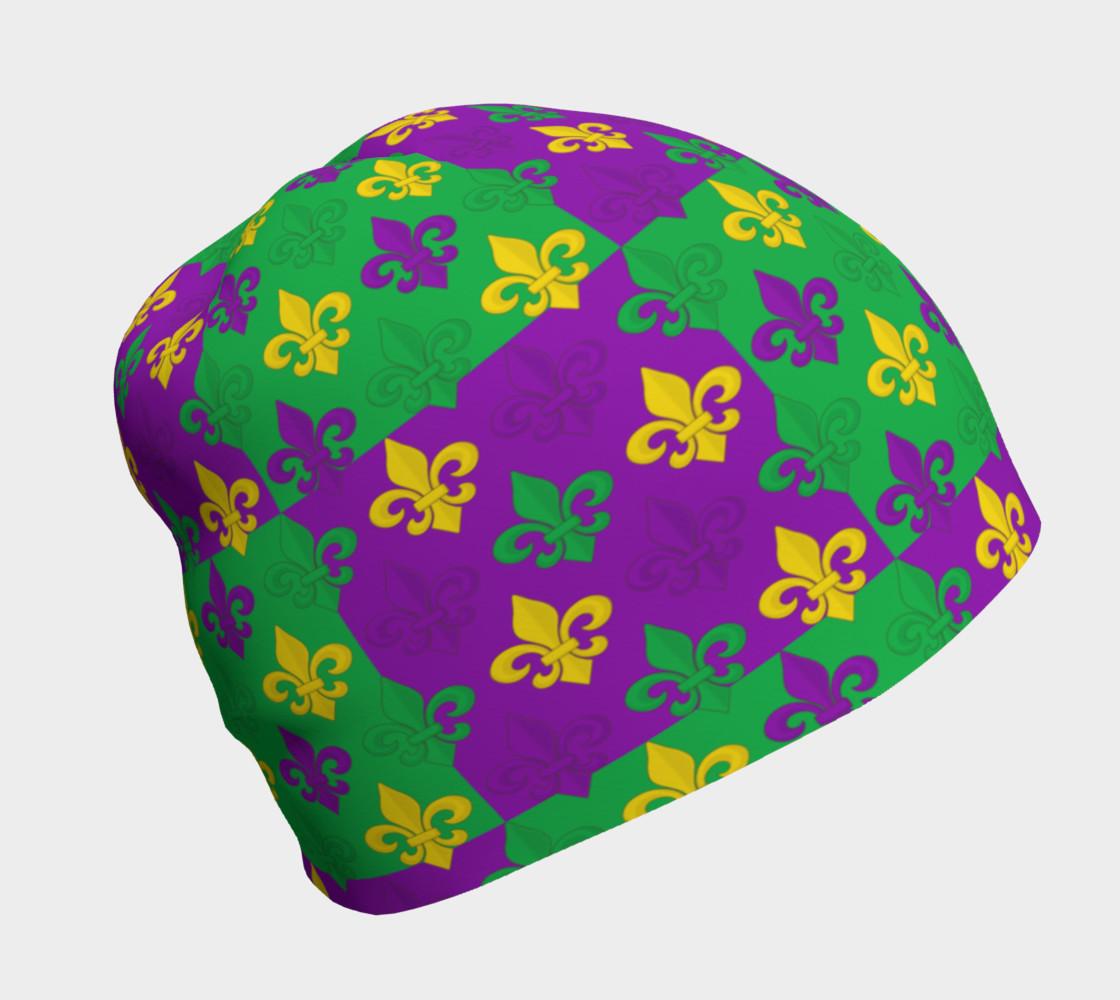 Mardi Gras Green Gold Purple Fleur-de-Lis Pattern preview #1