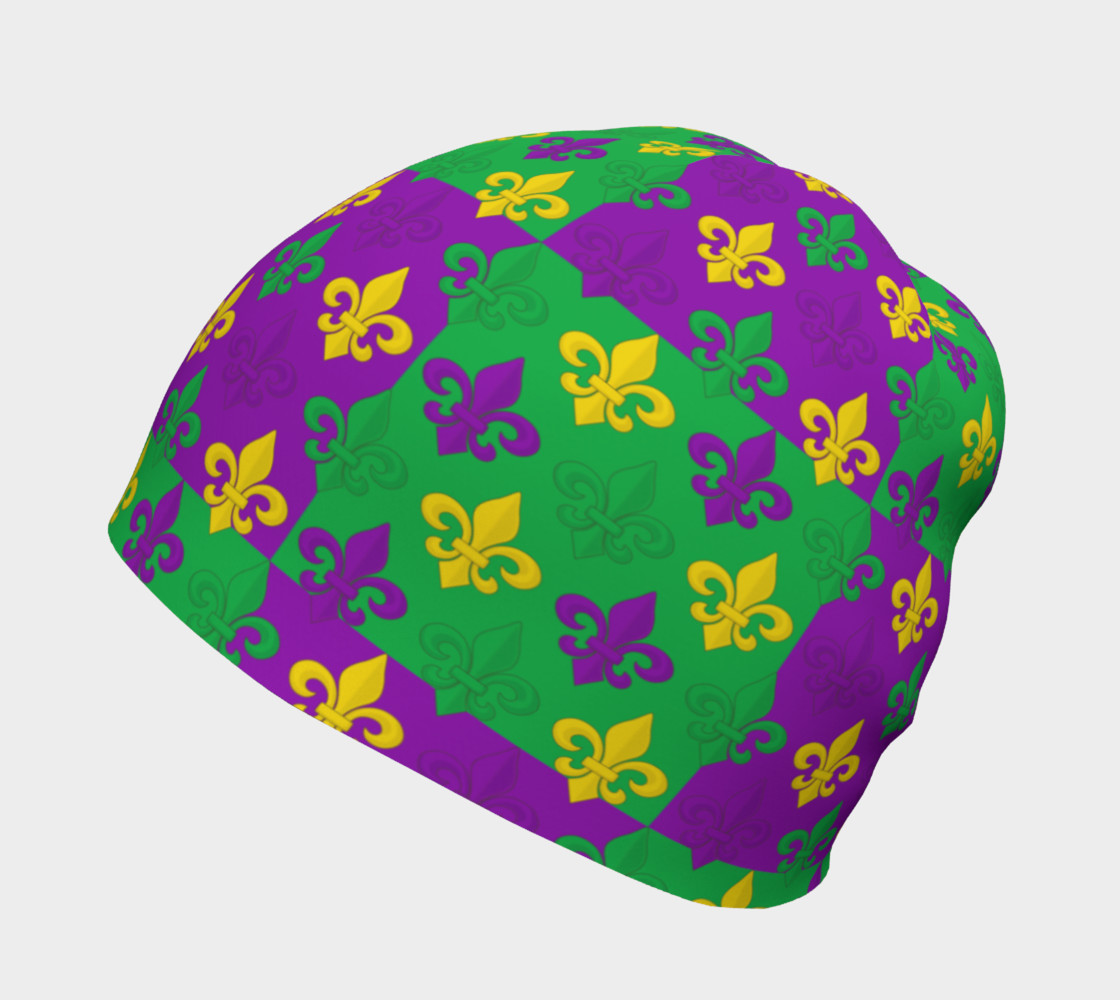 Mardi Gras Green Gold Purple Fleur-de-Lis Pattern preview #2